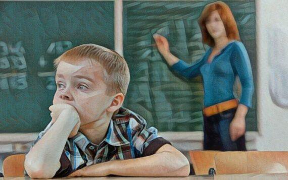Un niño con problemas para concentrarse en la escuela por déficit de atención