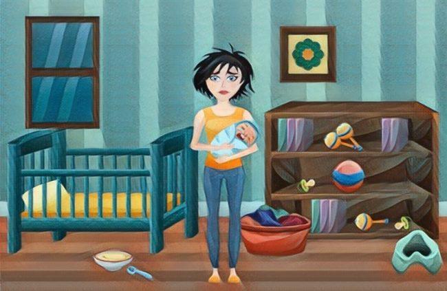 Ilustración de una Mujer sufriendo depresión posparto