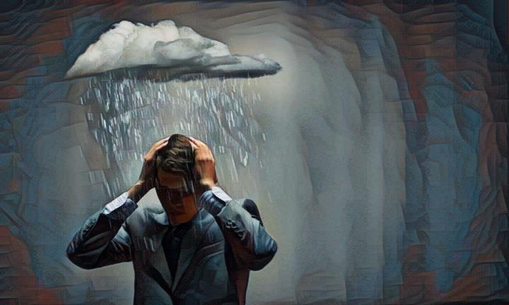 Persona víctima de pensamientos perturbadores