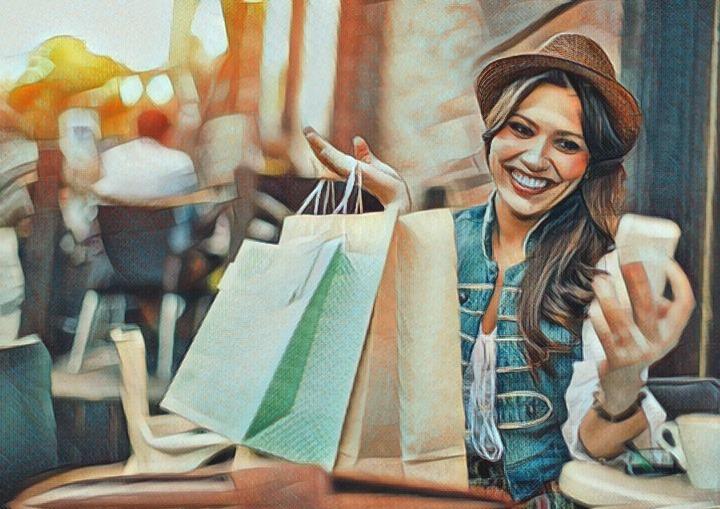 Mujer que sale y compra cosas caras