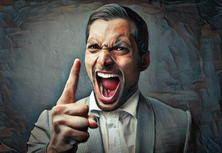 hombre enojado y la relación entre los neurotransmisores y la depresión y agresividad